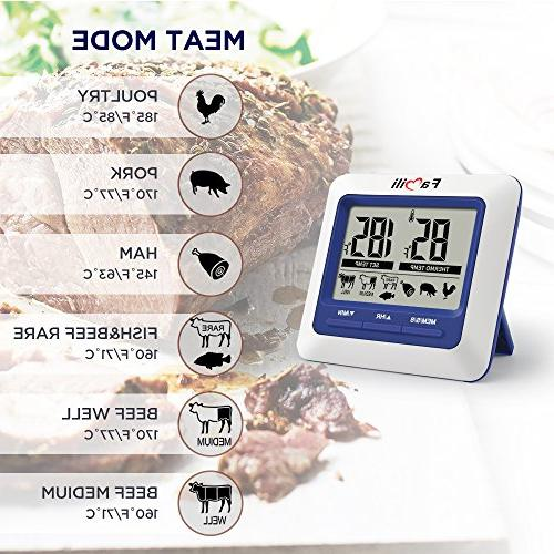 Famili Kitchen Cooking Thermometer for Grill Smoker Timer Alarm Large LCD