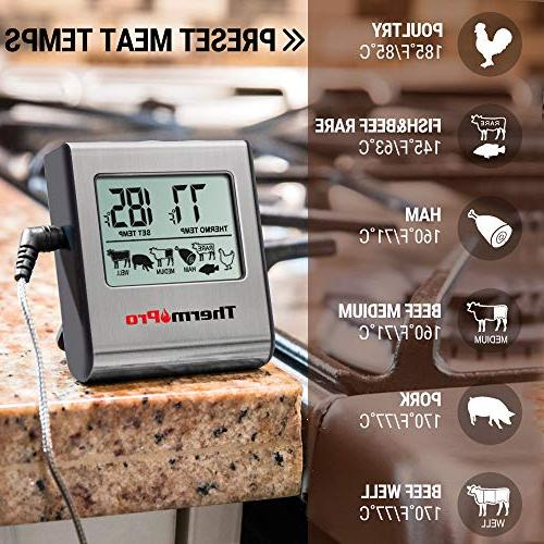 ThermoPro Digital Cooking Thermometer for Smoker Oven Kitchen Thermometer Clock