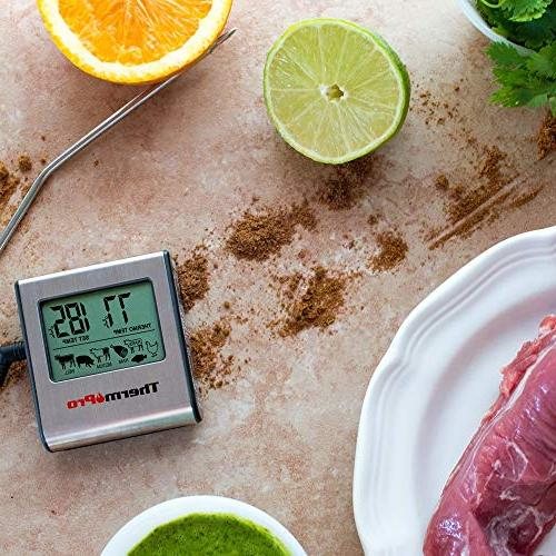 ThermoPro Digital Thermometer Smoker Kitchen BBQ Clock Timer with Steel Temperature Probe