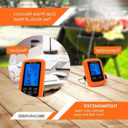 Cooking Thermometer Wireless and Thermometer Dual Grilling, BBQ Timer Pre-Programmed