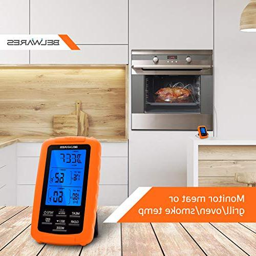 Cooking Thermometer Wireless and Food Dual Cooking, Baking, BBQ Thermometer, with Timer and