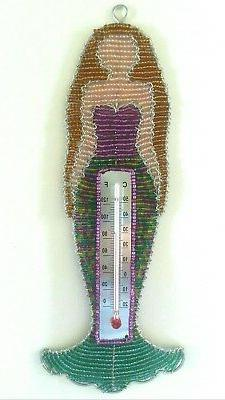 Decorative Outdoor / Greenhouse Thermometer - Mermaid - Rust