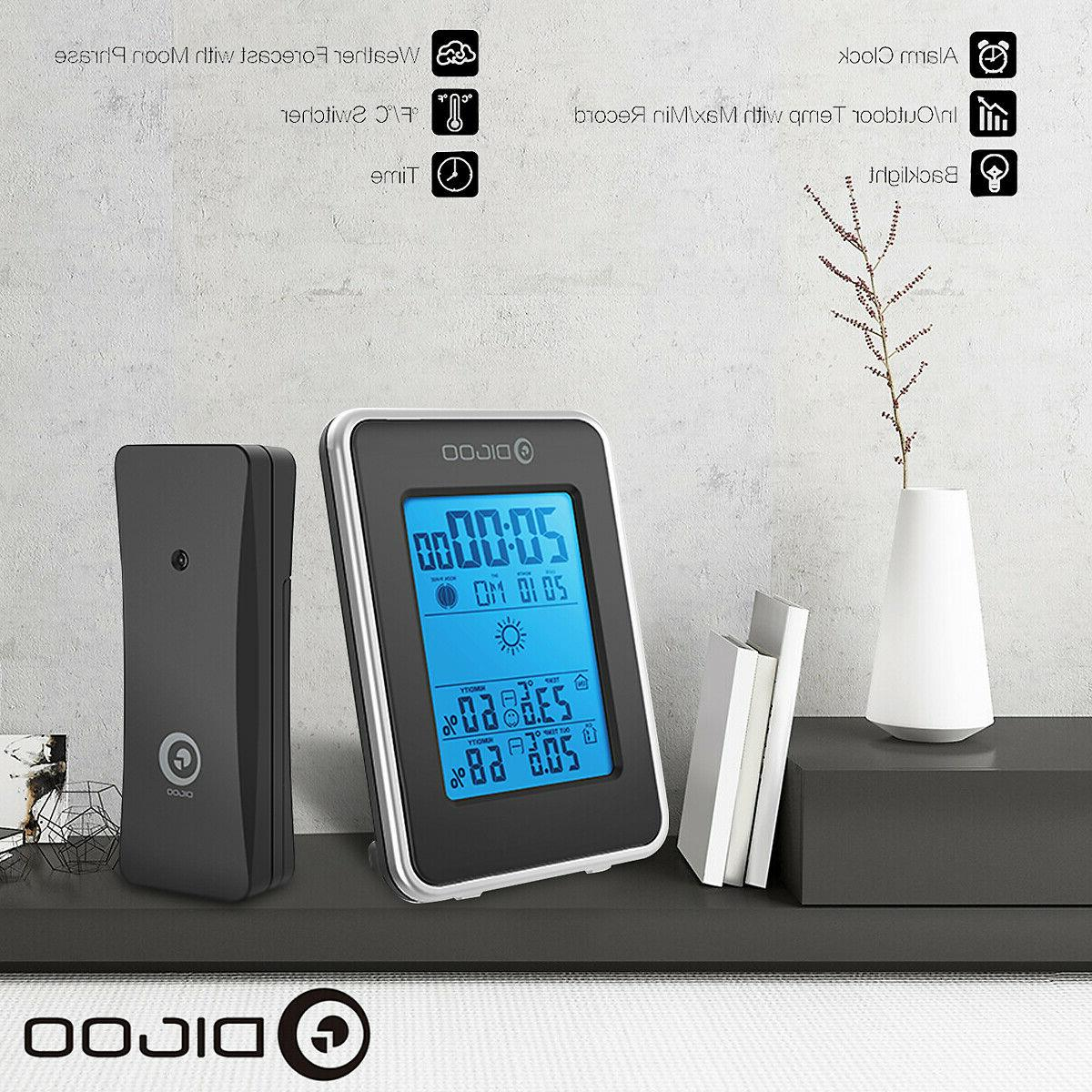 Digoo Station Thermometer Clock W/Outdoor