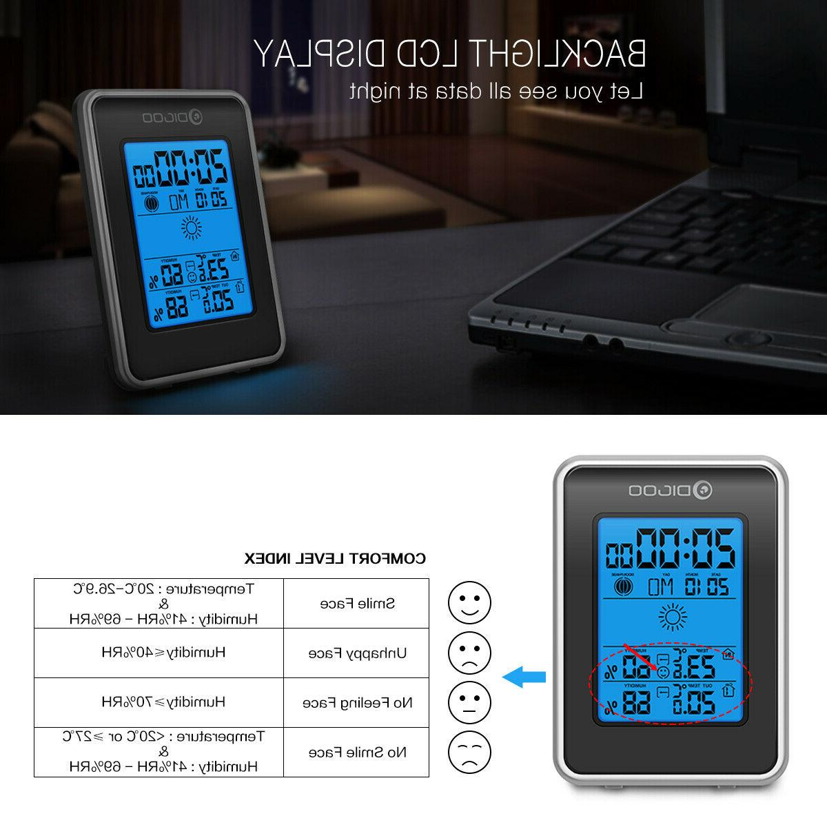 Digoo DG-TH1981 Weather Thermometer Moon Phase W/Outdoor