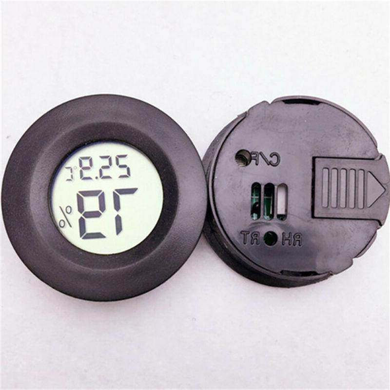 Digital Outdoor Round Thermometer Humidity Home Office Black