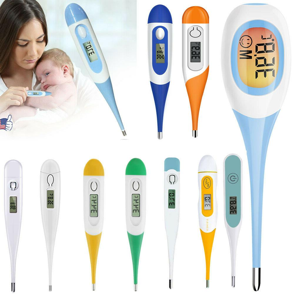 Digital LCD Thermometer Teal Body Safe Electronic Thermometer