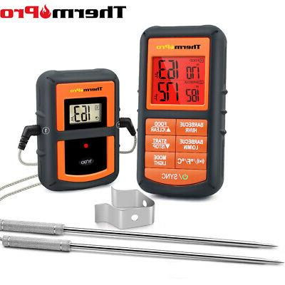 digital lcd wireless meat cooking thermometer dual