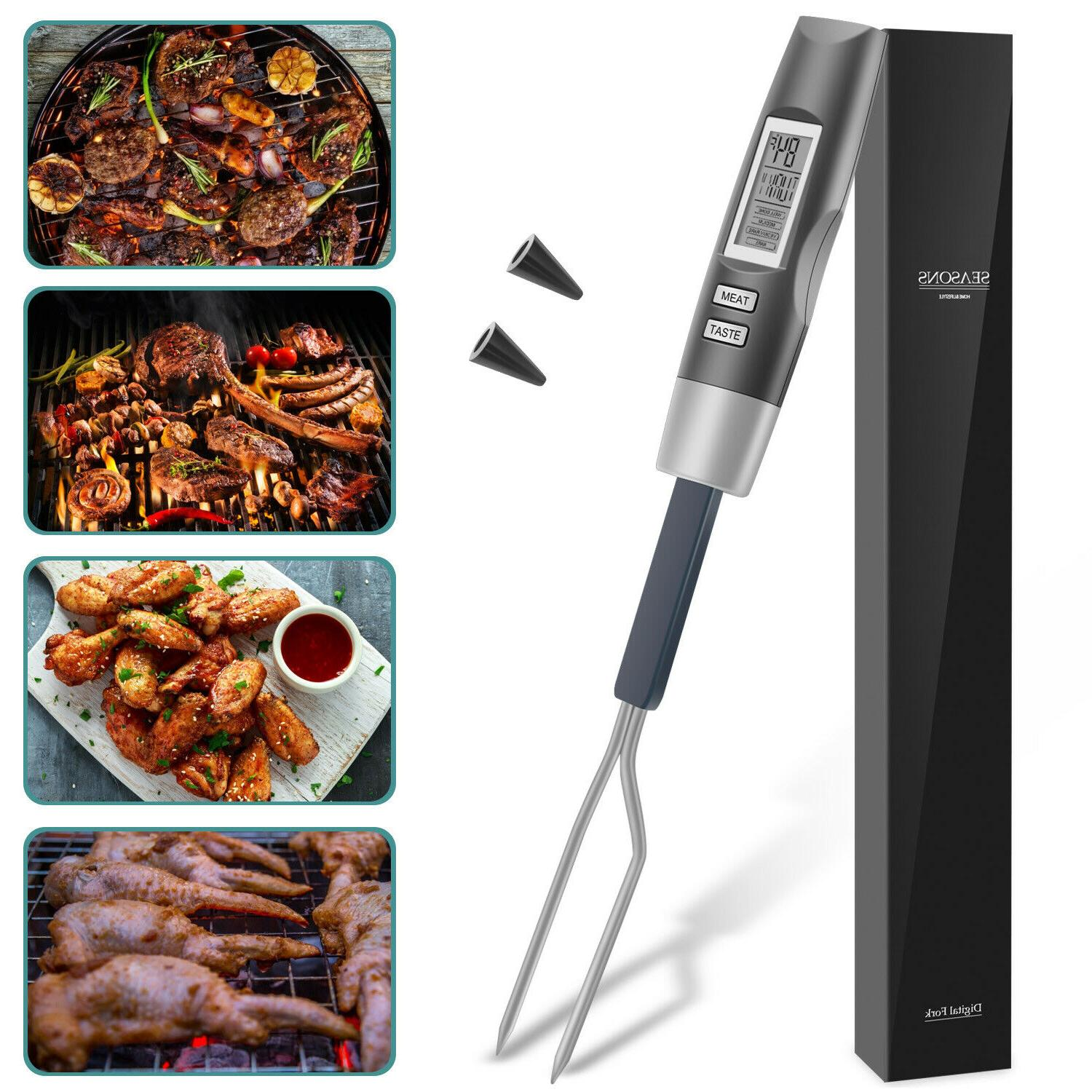 Instant Read Digital Thermometer Meat BBQ Cooking Fork Smoke