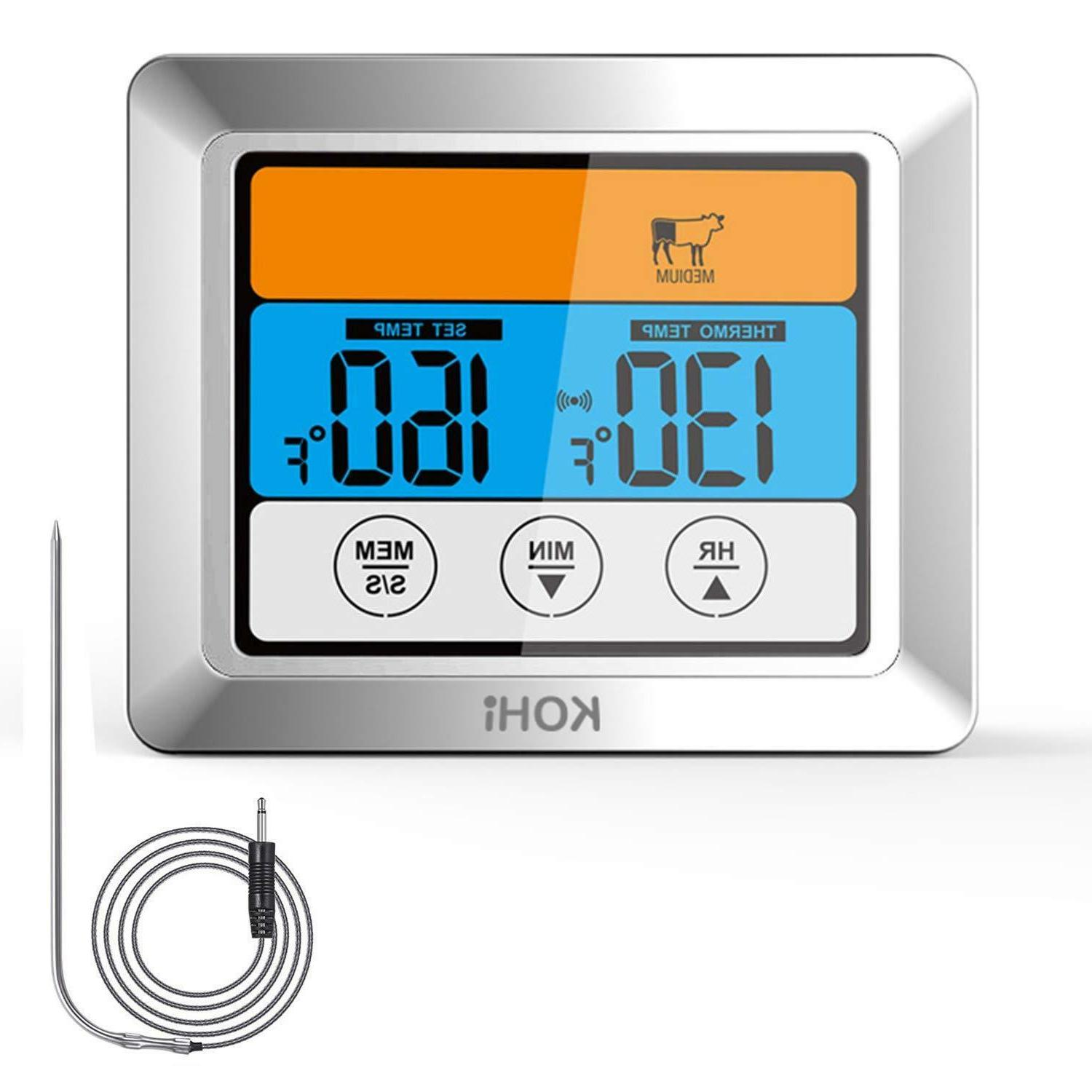 digital meat thermometer timer instant read oven