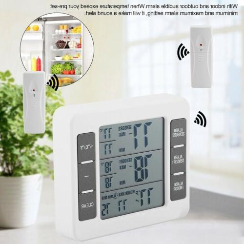 wireless digital audible alarm refrigerator thermometer w