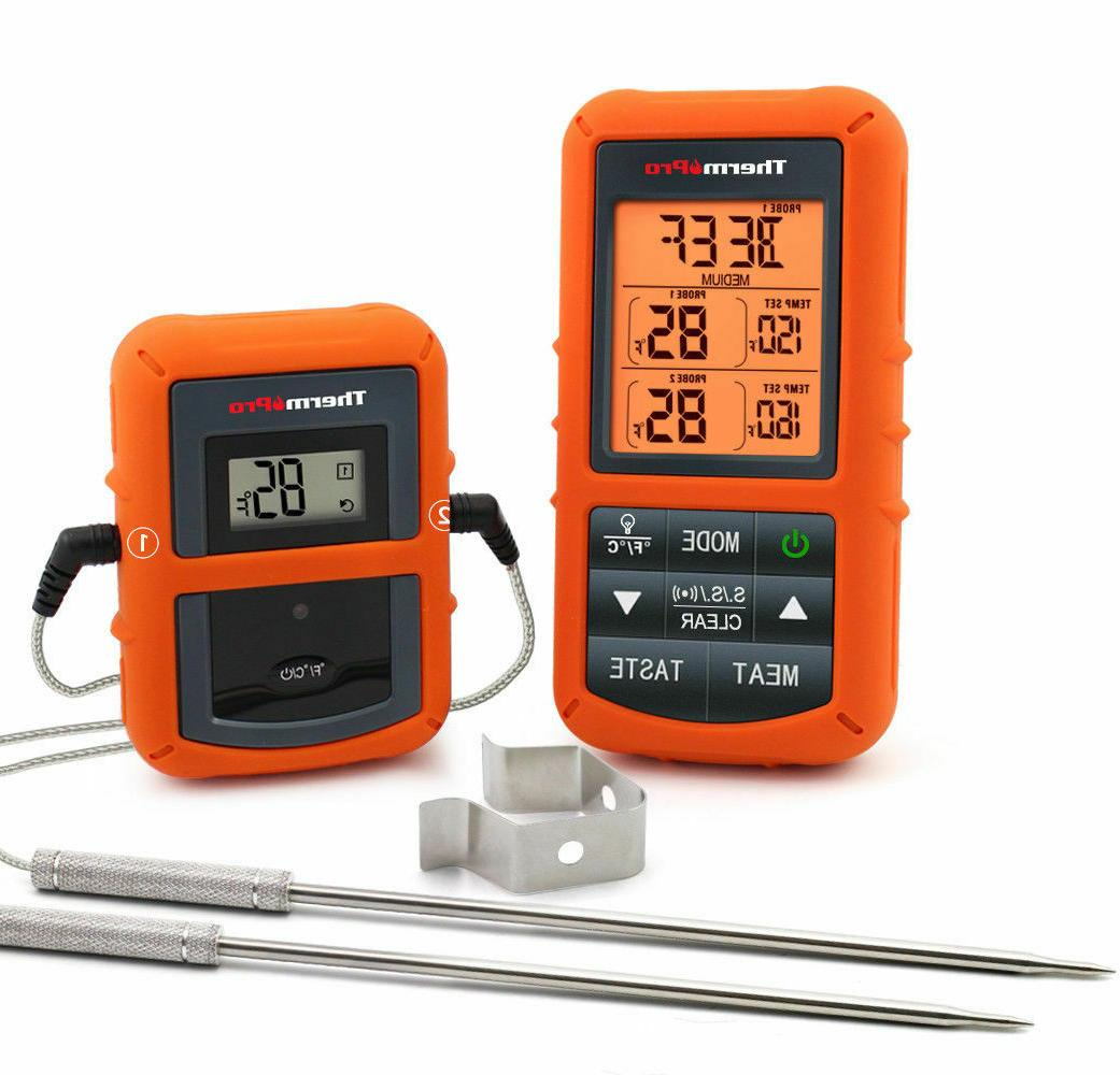digital wireless remote meat thermometer with dual