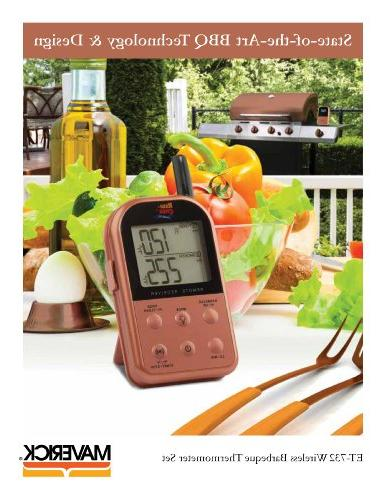 Maverick Long Wireless Dual Probe BBQ Meat Thermometer Set Copper Cooper