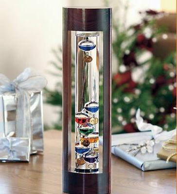 galileo thermometer with beautiful cherry finish wood