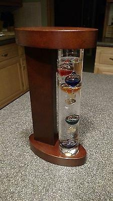 galileo thermometer with wood stand new