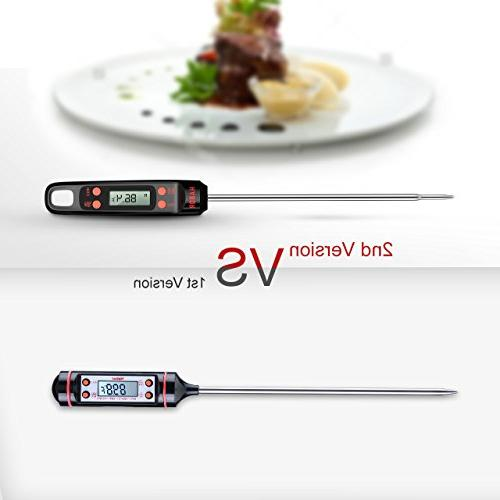 Habor Meat Thermometer 5.5'' Long LCD Screen, Hanging Hole for Kitchen Grill BBQ Smoker
