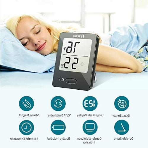 Habor Pieces Hygrometer Thermometer, Room Thermometer Gauge Indicator, Home, Office, Greenhouse