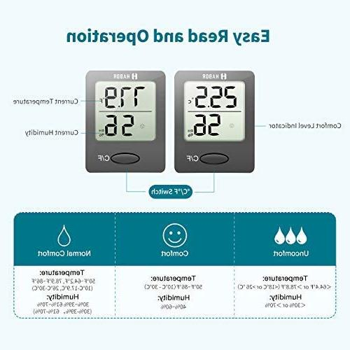 Habor Hygrometer Mini Room with Gauge Temperature Humidity Meter Home, Office, Greenhouse