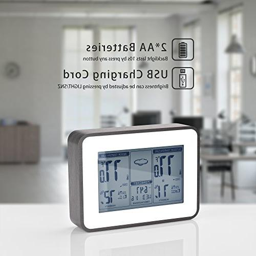 Indoor Outdoor Thermometer Hygrometer Display Temperature Multifunctional Station Clock, 2018 Design