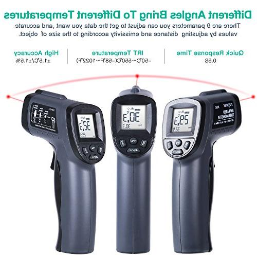 Infrared Thermometer, Laser Gun Adjustable Emissivity - Probe Meat Included