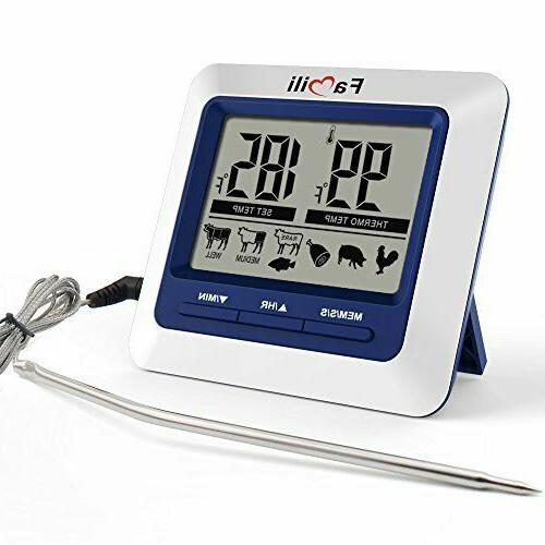 instant read digital food meat thermometer timer