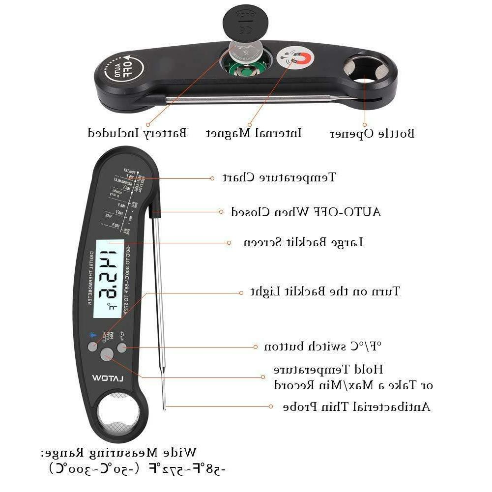 Instant Read Thermometer Waterproof with Opener