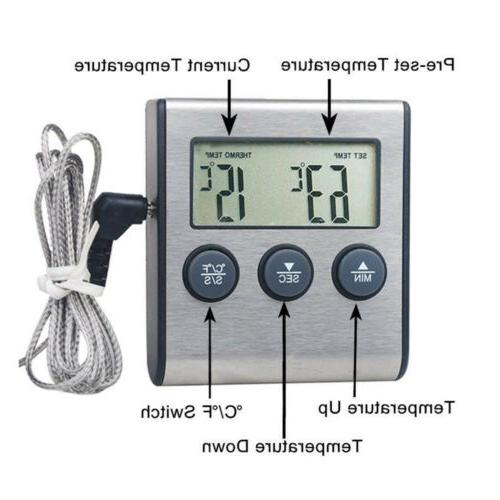 Instant Read Meat Probe Thermometer Grill Oven Timer Alarm