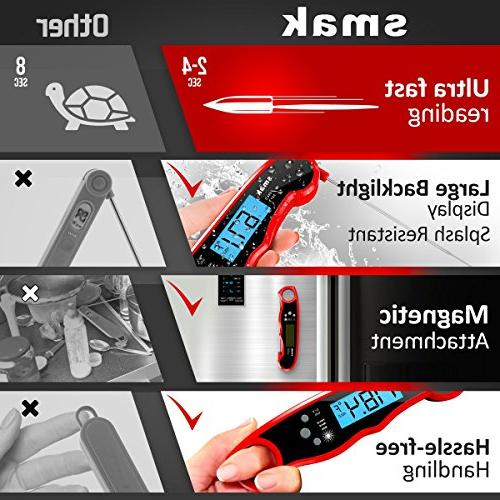 Digital Instant Read Thermometer - Food Backlight LCD Super Thermometer Probe Grilling Baking Turkey