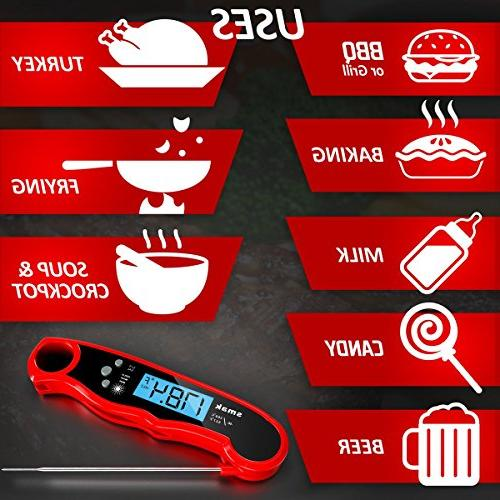 Digital Instant Read Thermometer - Food Backlight LCD - Best Super Fast Thermometer Probe Grilling Smoker