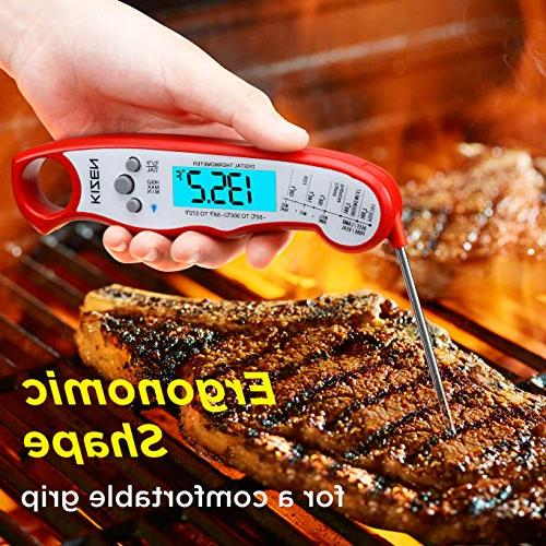Kizen Read Thermometer - Best Waterproof Ultra Fast Thermometer Backlight & Digital Thermometer Kitchen, and Grill!