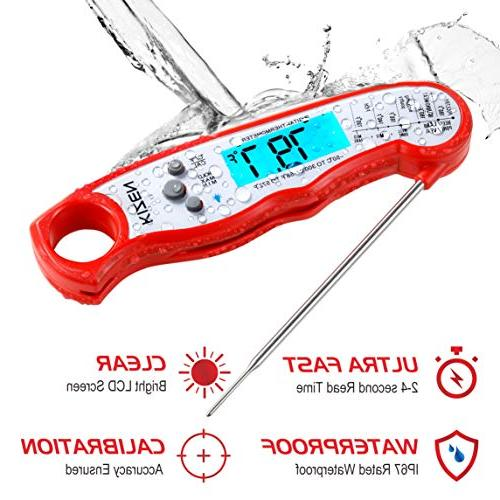 Kizen Read Meat Thermometer Best Backlight Calibration. Kitchen, Outdoor Cooking, and Grill!