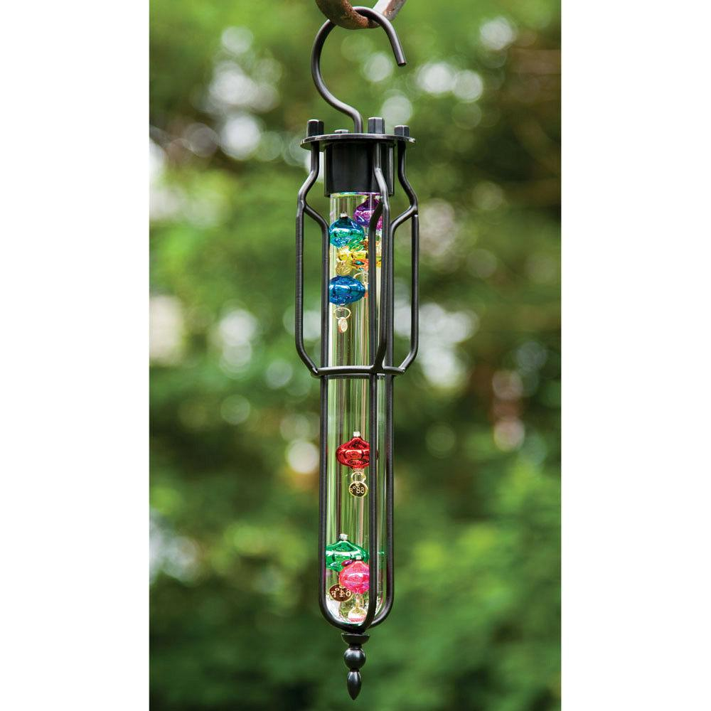 large storm glass thermometer hanging galileo garden