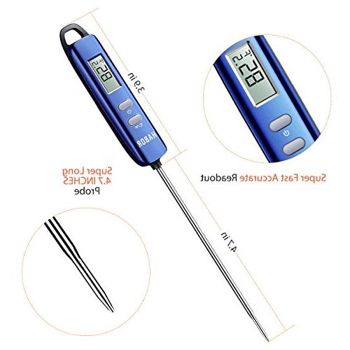 Meat Thermometer, Instant Read Thermometer Thermometer Candy with Long Cooking Grill Smoker Meat Fry Food Yogurt