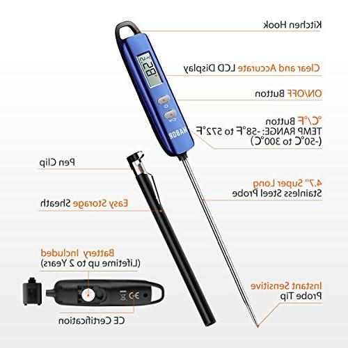 Meat Thermometer, Habor Read Thermometer Cooking Thermometer Candy with Super Long for Cooking Meat Yogurt