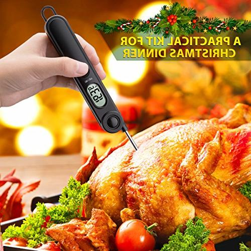 Habor Meat Thermometer Thermometers Electronic Food with Collapsible Kitchen Christmas Turkey Grill