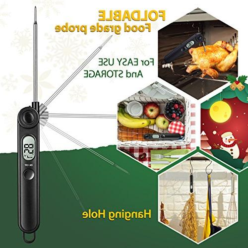 Habor Instant Thermometer Thermometers with Collapsible Probe Kitchen Grill