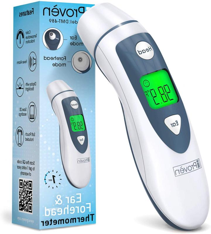 medical digital ear thermometer with temporal forehead
