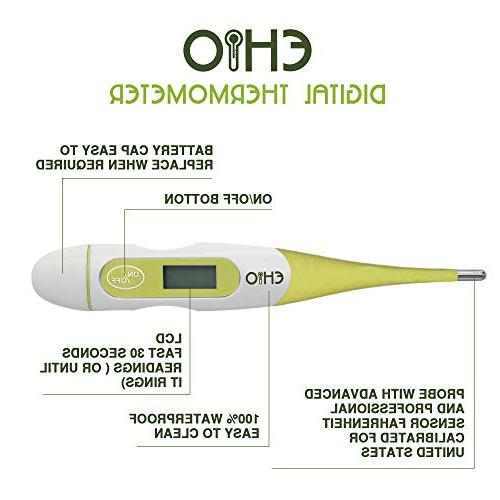 EHIO Medical Thermometer, Fast Reading, Flexible Auto Turn Degree Memory Ovulation Natural Family