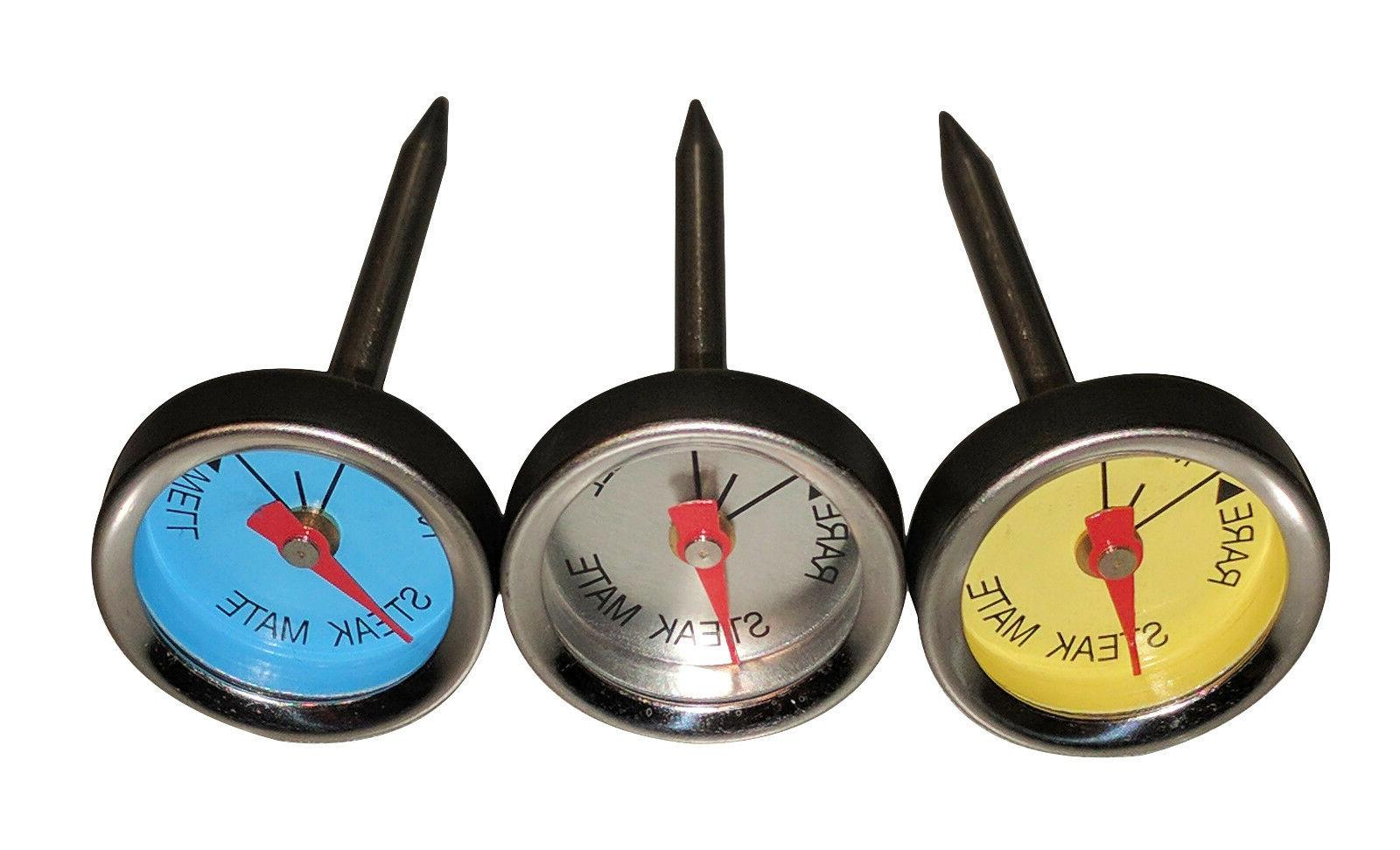 New Set of 3 Steak Mate Mini Steak Thermometers Stainless St