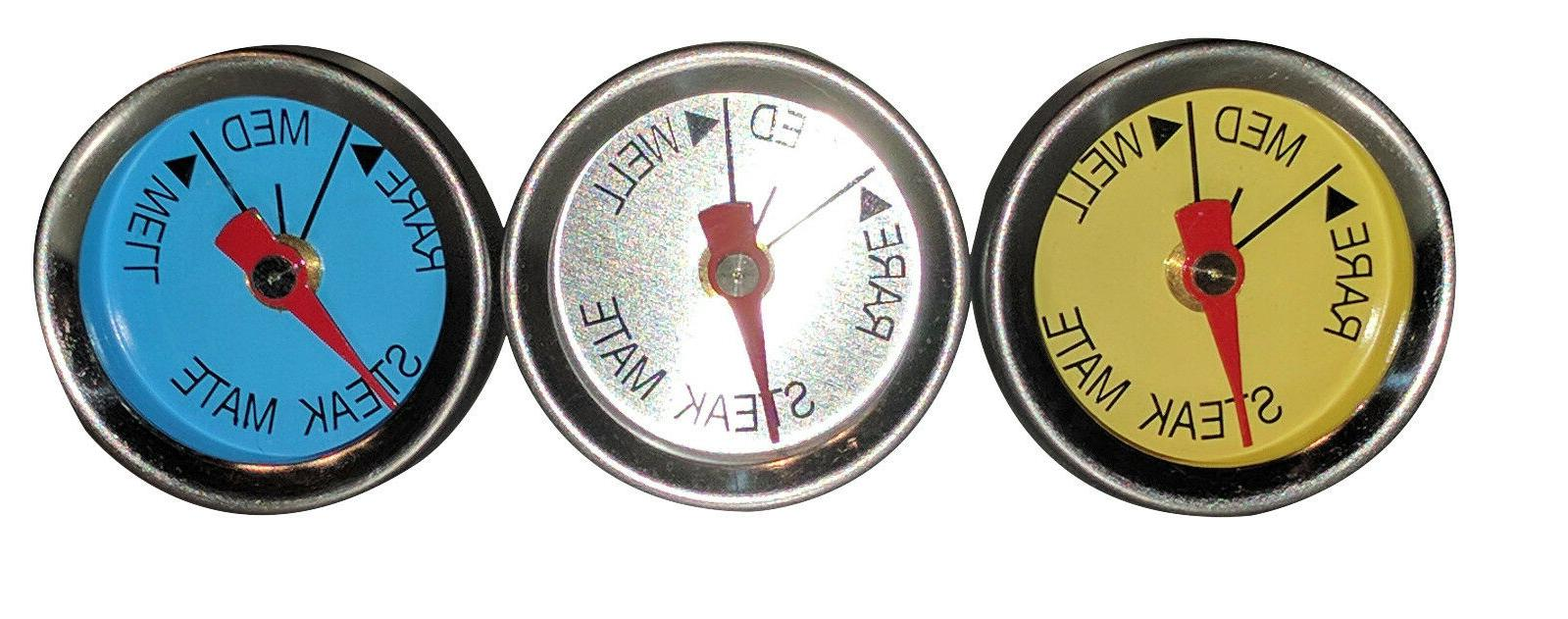 New Set of 3 Steak Mate Mini Thermometers Oven
