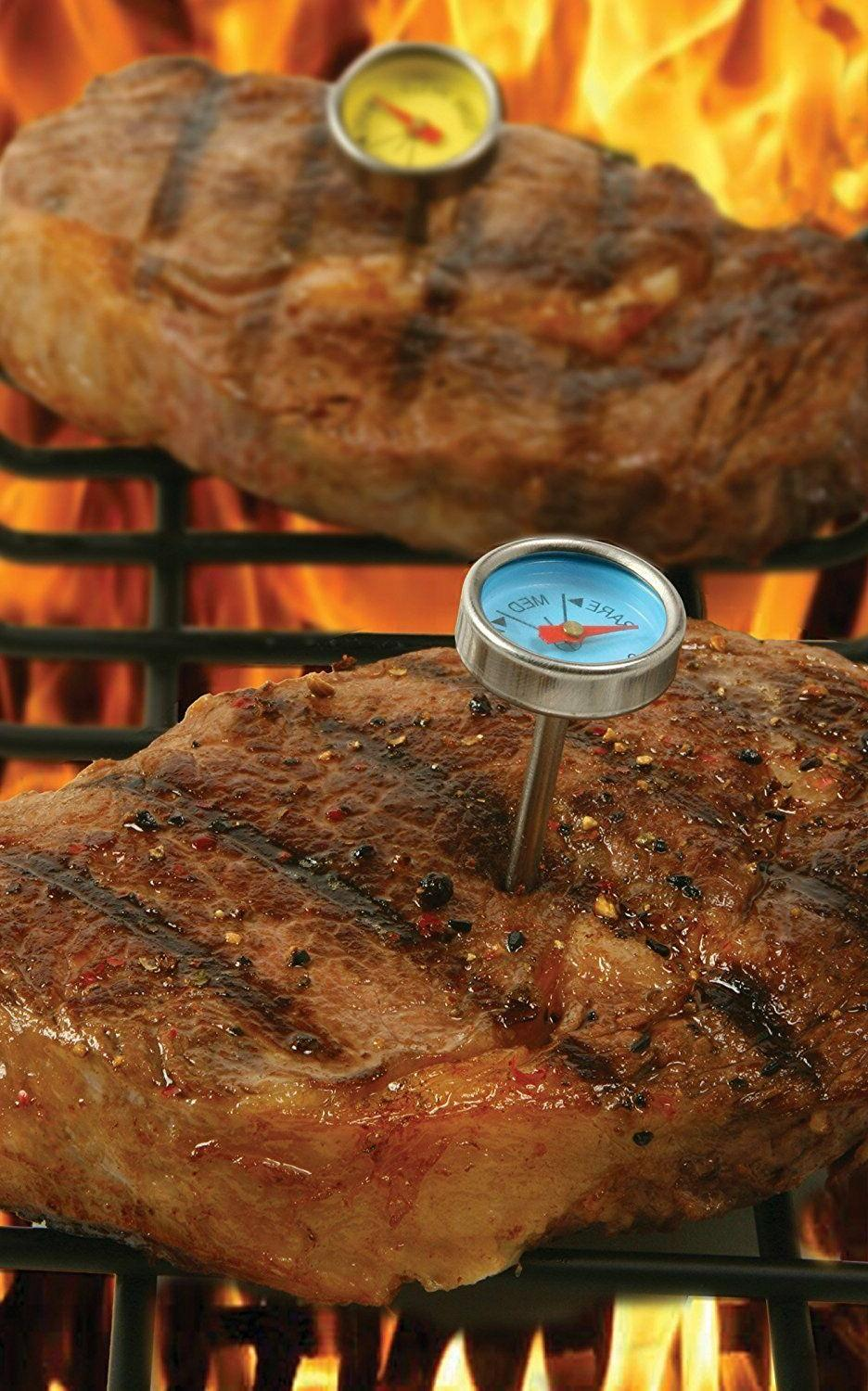 New of 3 Steak Mini Thermometers Oven Safe