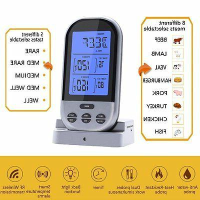 new wireless remote food meat thermometer dual