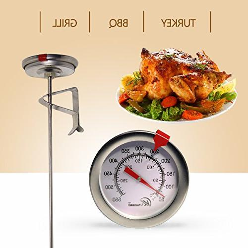 """KT Thermometer Instant Read,Dial Thermometer,12"""" Steel Meat Turkey,BBQ,Grill"""