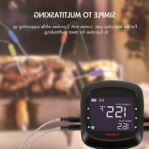 Tenergy Solis Thermometer, APP Controlled Bluetooth Smart Probes, Large Display, Carrying Cooking for Grill &