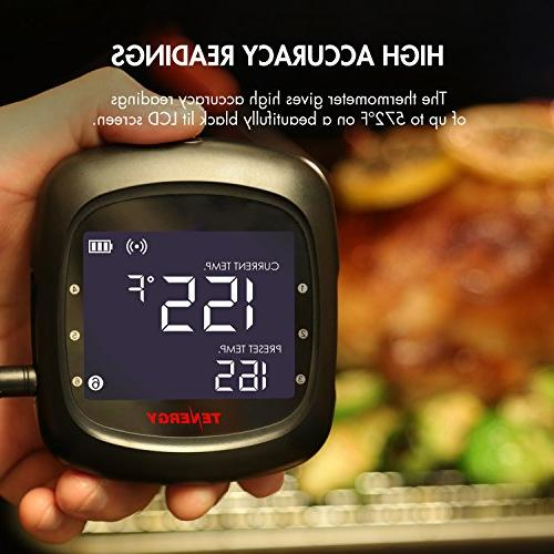 Tenergy Solis Thermometer, APP Controlled Bluetooth BBQ w/ 2 Steel Probes, Large LCD Carrying Cooking for