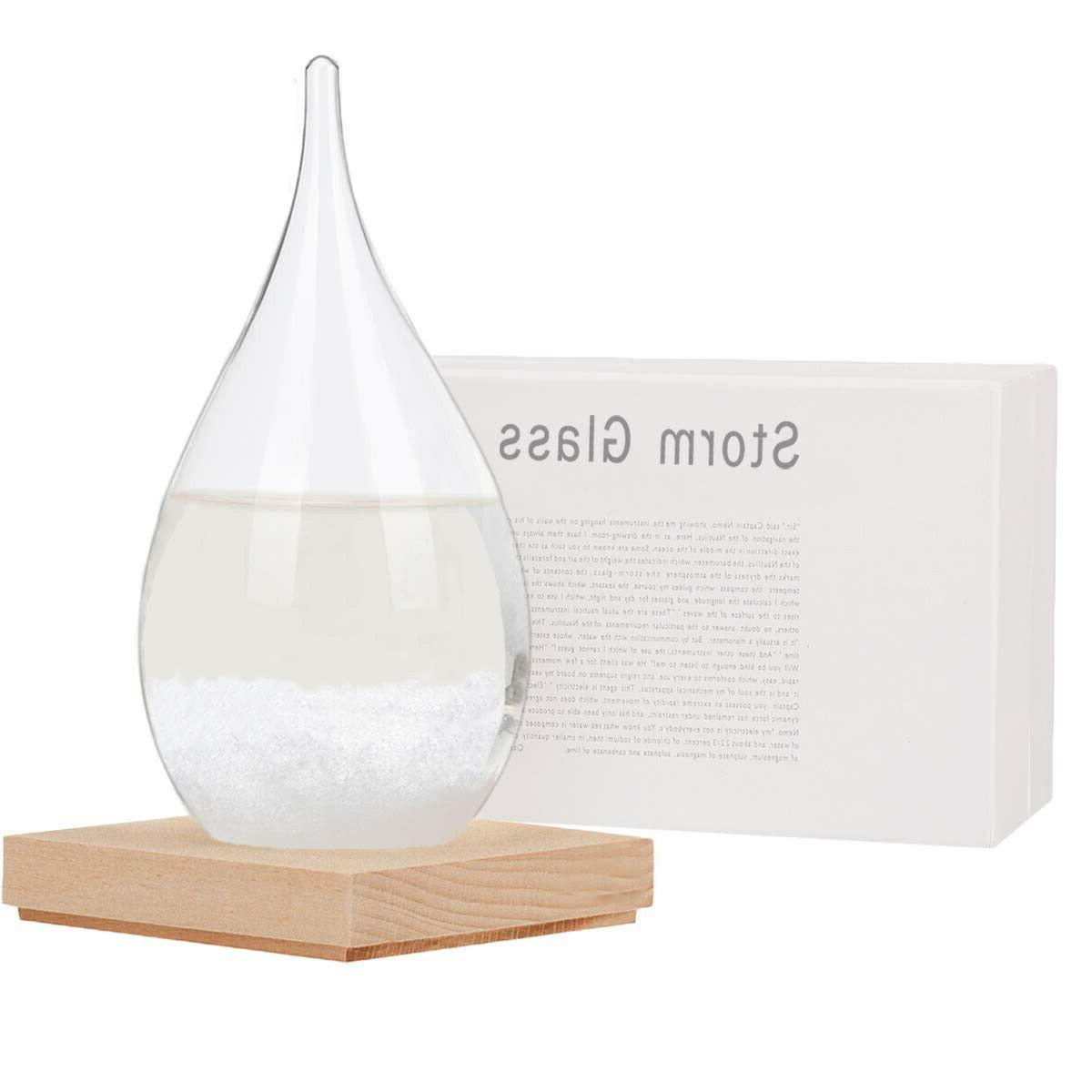Storm Glass Weather Station Barometer with Wooden Base Home
