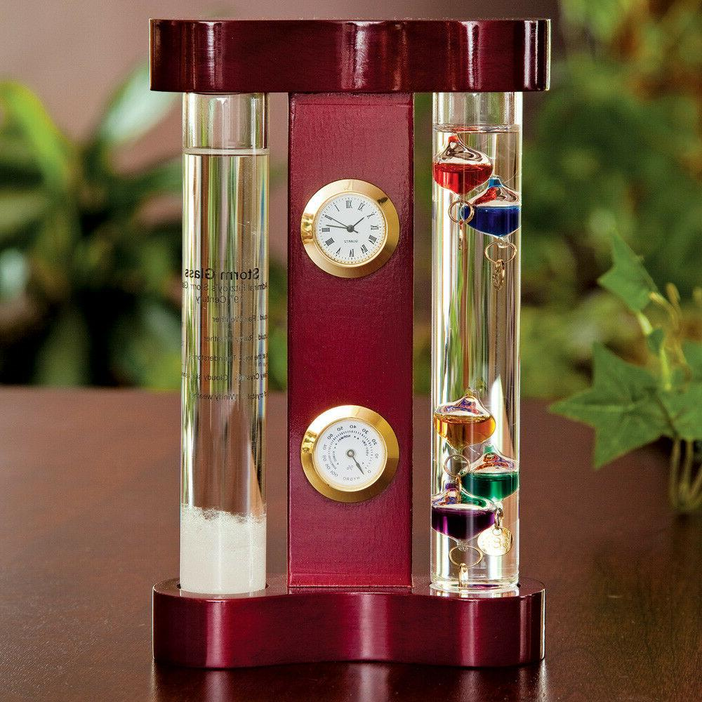 storm glass weather forecaster galileo thermometer barometer