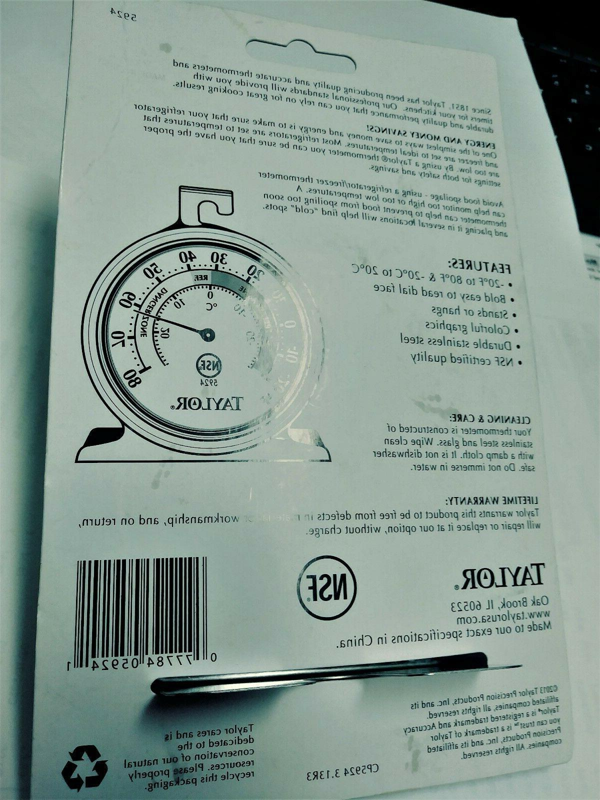 Taylor 5924 Refrigerator Thermometer -20 To 80 Degrees Hang FS