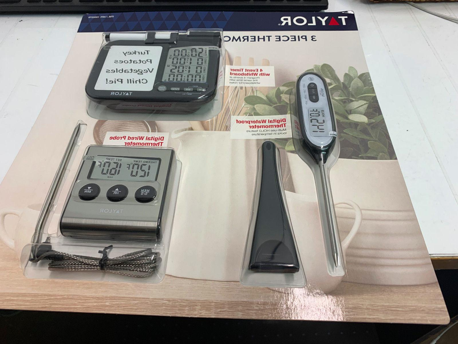 Taylor Thermometer + Timer Set 3Pc Cooking Thermometer
