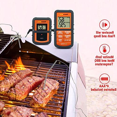 ThermoPro Wireless Remote Digital Meat Dual for Smoker BBQ Food 300 Feet