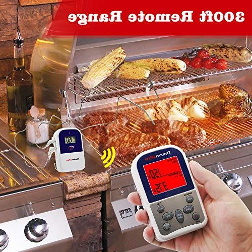 ThermoPro Wireless Meat Thermometer Grilling Oven Grill Thermometer with Probe, 300 Feet